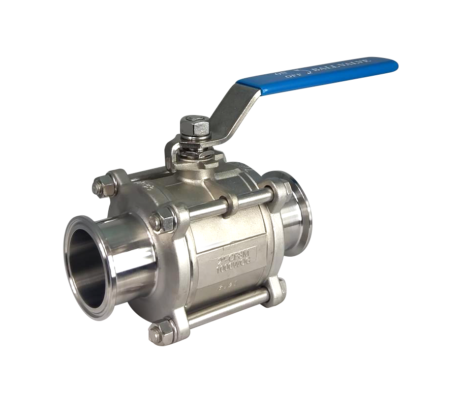 Sanitary Tri Clamp 3 piece ball valves 1000psi 316