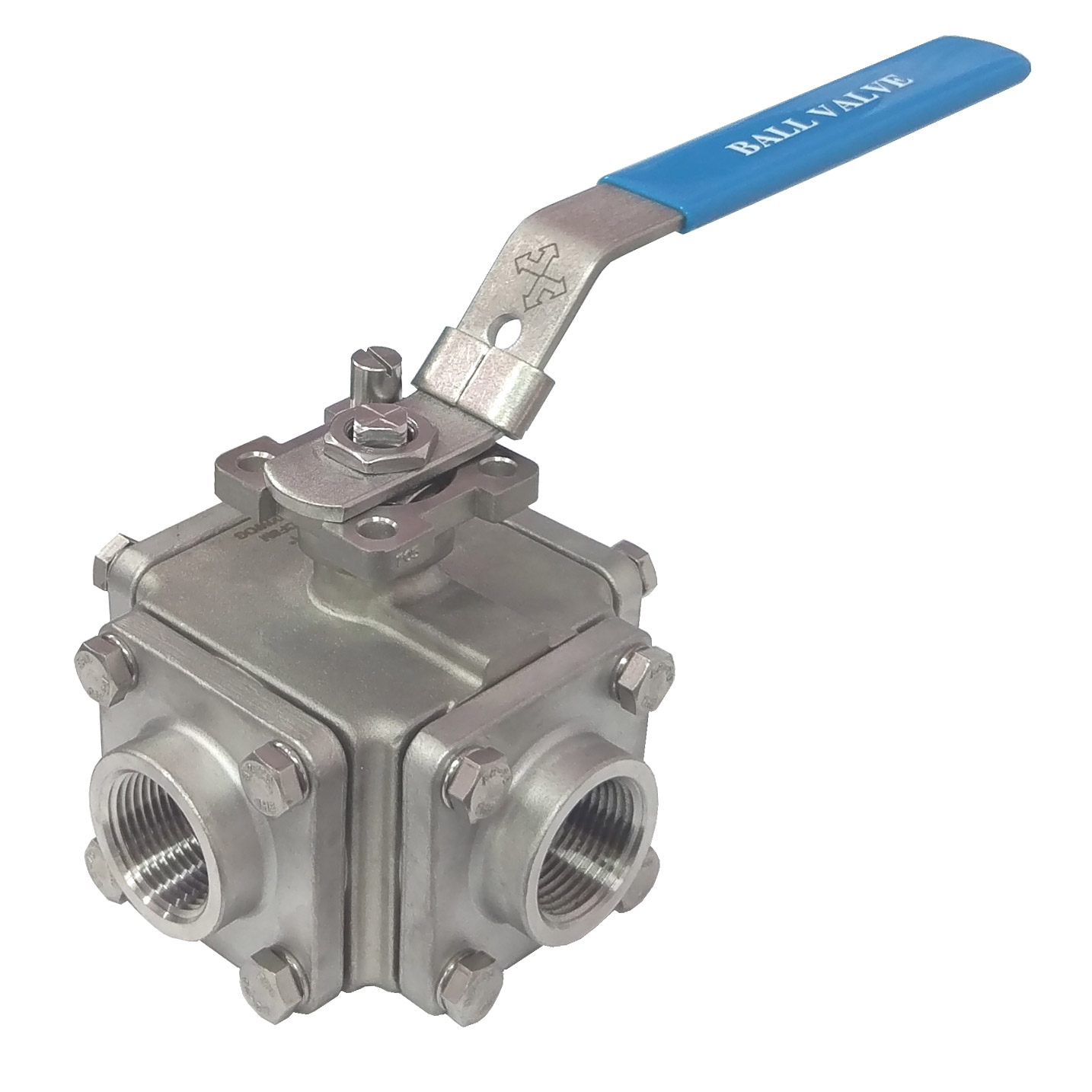 4-way ball valve, with ISO 5211 direct mounting pad