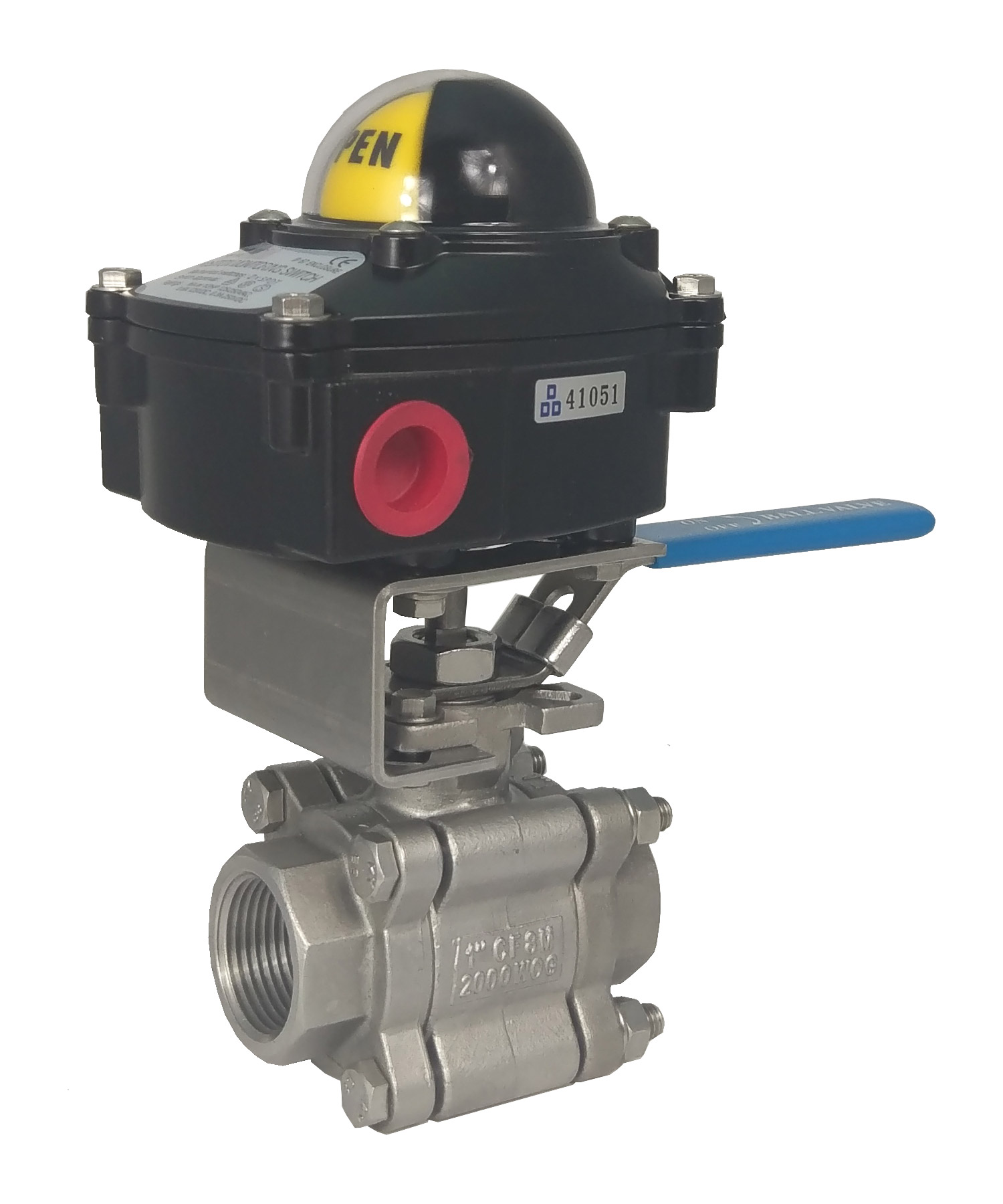 SINGLE Acting Pneumatic Actuator With Ball Valvemanual ball valve with limit switch box